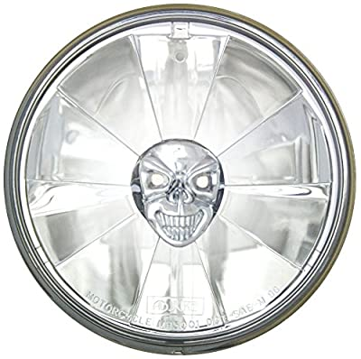 """Adjure 5-3/4"""" Rodeo Drive Style Motorcycle Headlight Bucket Combo with Pie Cut Skull Headlamp and H4 Bulb"""