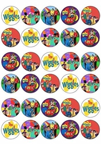 (Unbranded 30 X Wiggles Mixed Images Edible Cupcake Toppers Premium Rice Paper 218)