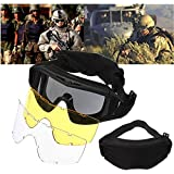 ELEGIANT CS Airsoft Tactical SWAT Goggles Glasses Eye Protection Mask with 3 Lenses
