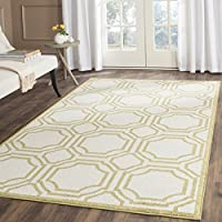 Safavieh Amherst Collection AMT411A Ivory and Light Green Indoor/ Outdoor Area Rug (5 x 8)