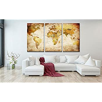 Amazon.com: Decor MI Vintage World Map Canvas Wall Art Prints ...