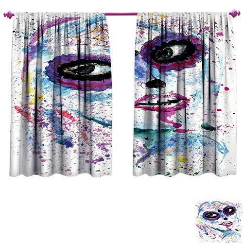 Girls Waterproof Window Curtain Grunge Halloween Lady with Sugar Skull Make Up Creepy Dead Face Gothic Woman Artsy Decorative Curtains for Living Room W72 x L72 Blue Purple ()