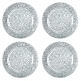Nantucket Home Silver Galvanized Metal Table Plate Chargers, 14-Inch, Set of 4