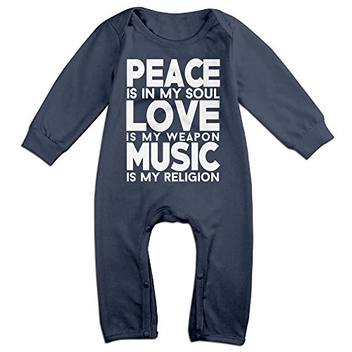 Peace & Love Plus Size Costumes (Baby Infant Romper Peace Love Music Long Sleeve Jumpsuit Costume Navy 6 M)