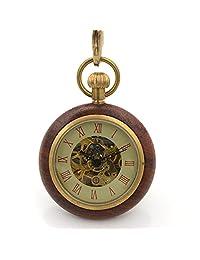 Roman Copper Wood Ring Hollow Mechanical Pocket Watch Fob Steampunk Open Face Men Women Watch