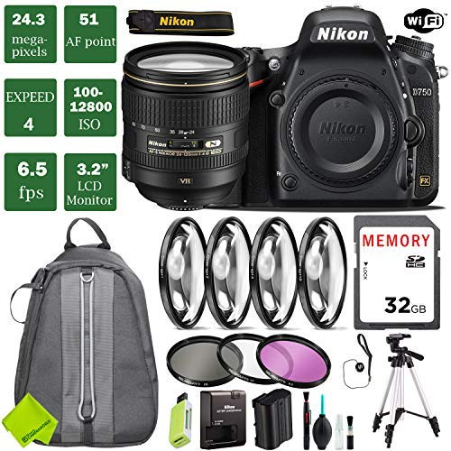 Nikon D750 DSLR Full Frame Camera with 24-120mm VR Lens + 4 Piece Macro Close-Up Set + 3PC Filter Kit (UV FLD CPL) + Tripod + Backpack