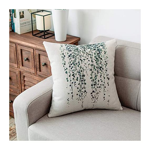YeeJu Set of 4 Green Plant Throw Pillow Covers Decorative Cotton Linen Square Outdoor Cushion Cover Sofa Home Pillow Covers 18x18 Inch - ELEVATE YOUR ROOM DECOR! Let these attractive green plants throw pillow covers add a freshness, dynamic, fashionable and cozy feel to your life atmosphere. Definitely these amazing 18X18 Inches throw pillow covers will be your Home Highlights! YOUR COMFORT IS OUR TOP NOTCH! With fantastic moisture absorption and wet dissipation, our 100% natural cotton linen is the perfect fabric for cushion cover or sofa throw pillow cases. As the premium comfort eco-friendly material, it offering the most restful relaxation, breathable cool touch in summer and warm touch in winter. DETAILS HIGHLIGHT THE QUALITY! Soft, breathable, textured made with color matching, invisible zipper, allows easy insertion and removal of pillow inserts. All fabric edges are sewn with overlock stitch to prevent fray and ensure the cushion case holds shape over time.Printed with healthy and environment friendly water-based ink, unfading, no stimulation to skin. - patio, outdoor-throw-pillows, outdoor-decor - 51UAA6I LZL. SS570  -