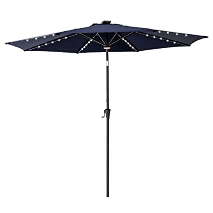 Delicieux FLAMEu0026SHADE 11u0027 LED Light Outdoor Patio Market Umbrella With Solar  Rechargeable Battery, Crank Lift
