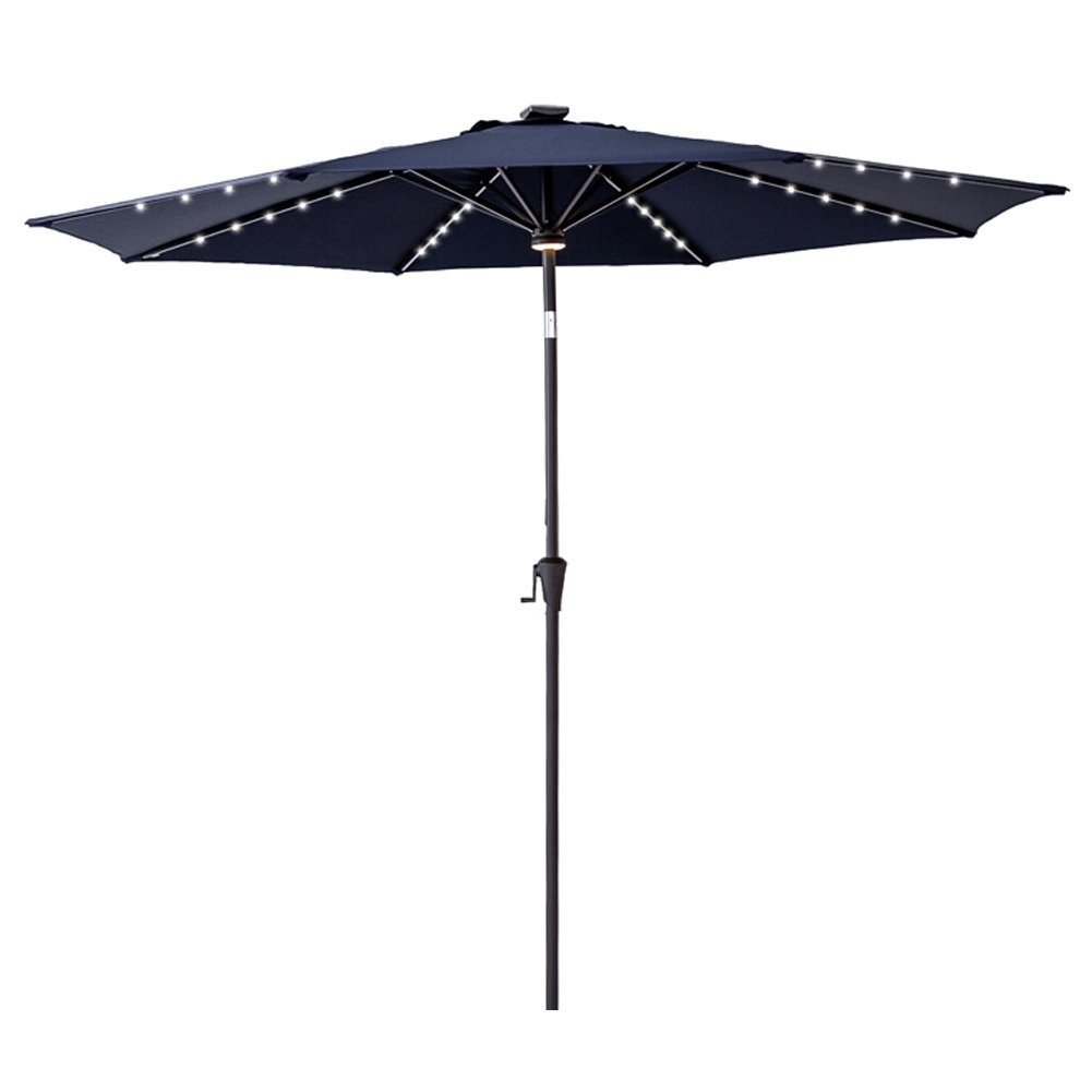 FLAME&SHADE 10' Round LED Light Outdoor Patio Market Umbrella with Solar Rechargeable Battery, Crank Lift and Push Button Tilt, Navy Blue by FLAME&SHADE
