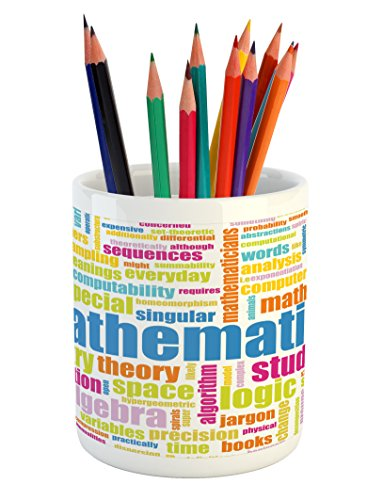 Lunarable Mathematics Classroom Pencil Pen Holder, Math Related Different Words Conceptual Terminology Collection Print, Printed Ceramic Pencil Pen Holder for Desk Office Accessory, Multicolor