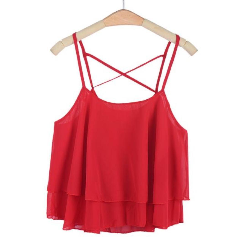 0e75c13dcb40 Amazon.com  Women Chiffon Crop Top