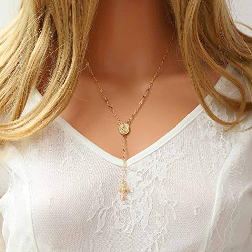 Fstrend Y-Shape Necklace Gold Chain Crucifix Virgin Mary Pendant Necklaces Holy Cross Religious Medal Jewelry for Women and Girls