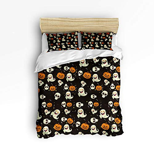 YEHO Art Gallery Full Size Cute 3 Piece Duvet Cover Sets for Boys Girls,Black Halloween Horror Ghost Pumpkin Bat,Decorative Bedding Set Include 1 Comforter Cover with 2 Pillow Cases