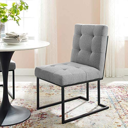Modway Privy Upholstered Fabric Black Stainless Steel Dining Chair
