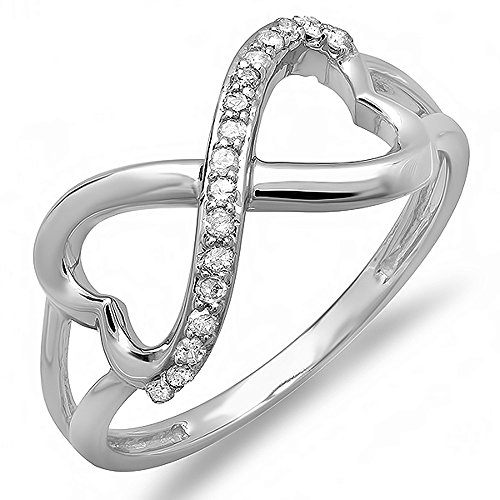 0.15 Carat (ctw) 18K White Gold Diamond Promise Two Double Heart Infinity Love Bridal Ring Diamond 18k White Gold Heart Ring