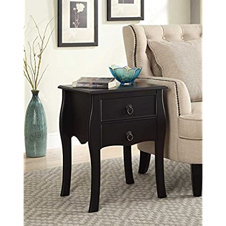 Black Finish Curved Legs Accent Side End Table Nighstand With Two Drawer