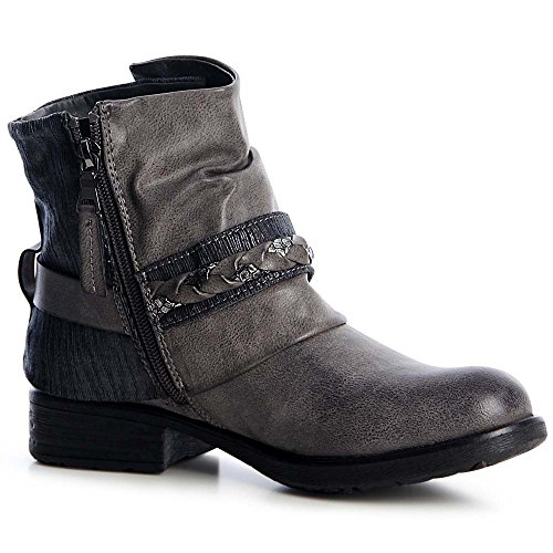 topschuhe24 1260 Damen Worker Boots Stiefeletten Lässig Blogger Grau