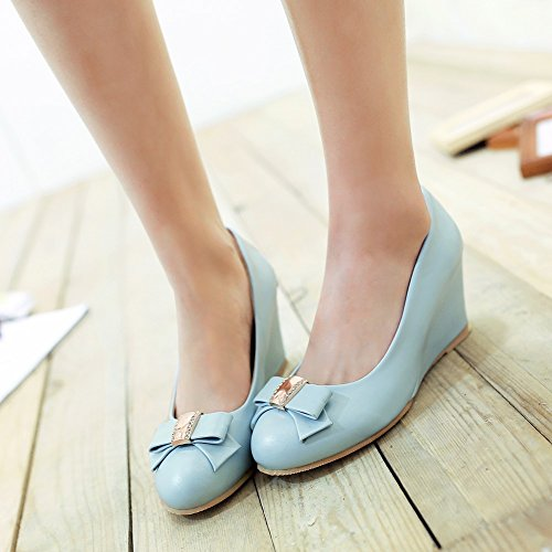 Charm Foot Womens Sweet Bows Wedge High Heel Pumps Shoes Blue B4Tm5VQiA