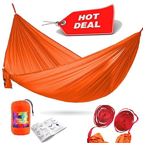 Calm Outdoor Portable Camping Hammock with 33 ft. EXTRA-long Straps + UNIQUE COCOON TECHNOLOGY, Ultra Compact & Lightweight - just 1 lb, Easy - Cheap Shopping Vegas Las
