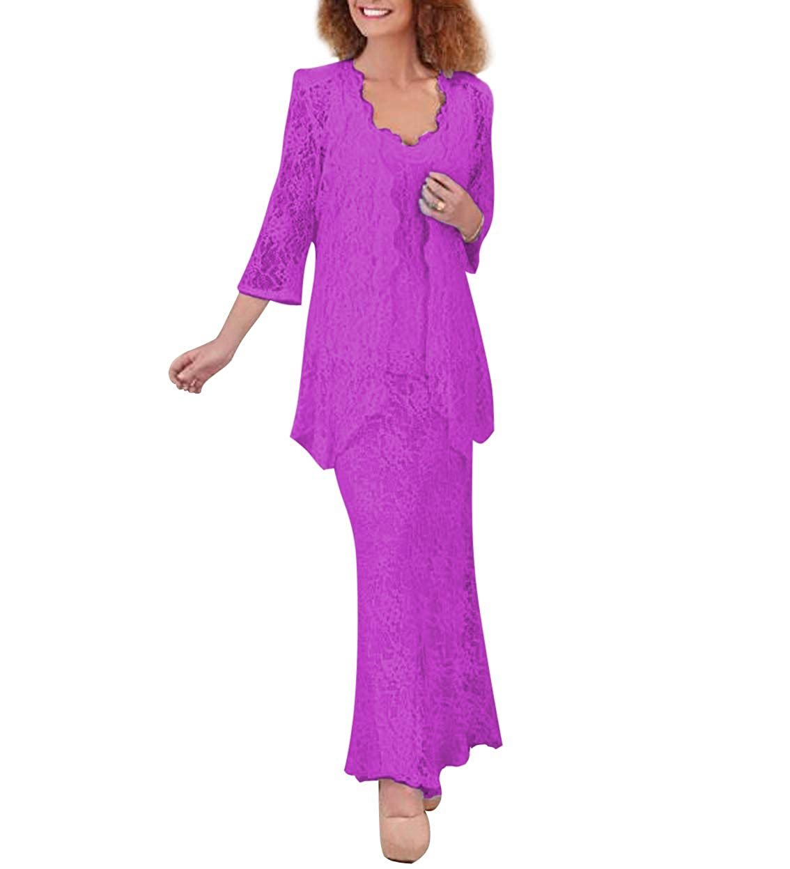 purplec Women's 3 Pieces Lace Mermaid Mother of The Bride Dresses with 3 4 Sleeves Jacket