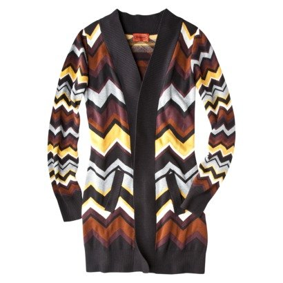 Missoni for Target Cardigan Sweater - Long Brown Multicolor Zigzag Print - Extra Large