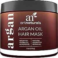 ArtNaturals Mascarilla capilar con aceite de argán - (8 oz /226 g) - Acondicionador profundo - Aceite de jojoba orgánico 100%, aloe vera y queratina - Repare el cabello seco, dañado o tratado con color después del champú - Sin sulfato