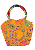 Indian Flower Pot Desiged Bag with Attractive Handicraft Thread Work for Female (Yellow)