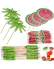 GOUHRRY 100 Pieces Green Tropical Coconut Palm Tree Watermelon Toothpicks Paper Umbrellas Bamboo Toothpicks Handmade Cocktail Parasol Sticks for Cocktail Decorations