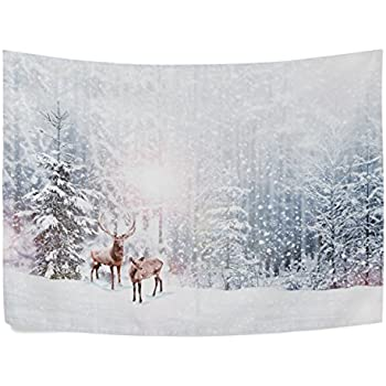 Amazon Com Custom Winter Scene White Snow Tree Trunks Forest Tapestry Wall Hanging Grove Nature