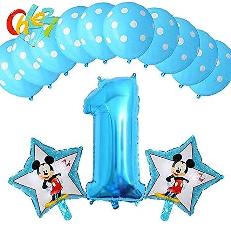 Amazon.com: 13 globos de cumpleaños para niños azules con ...