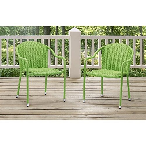 Crosley Furniture Palm Harbor Outdoor Wicker Stackable Chairs – Green (Set of 2) Review