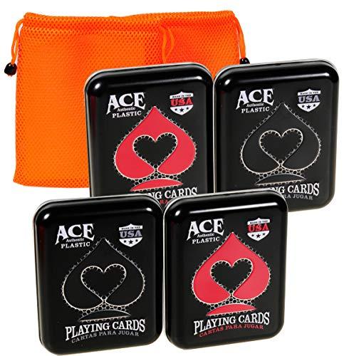 (Ace Casino 100% Plastic Playing Cards in Tin    4 Decks    Bonus 2 Orange Mesh Drawstring Storage Pouches    Bundled Items)