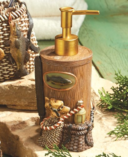 Rather Be Fishing Lodge Lotion Pump - Lodge Bathroom Decor by Black Forest Decor