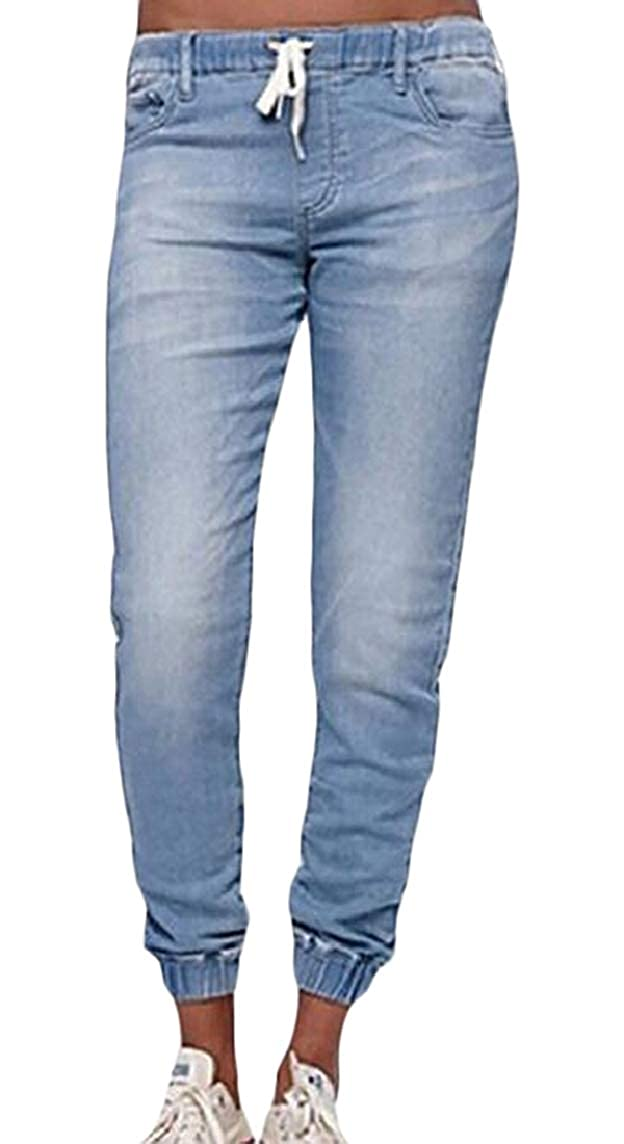 Nicelly Womens Elastic Waist Pockets Over Sized Strappy Lounge Trouser Jean