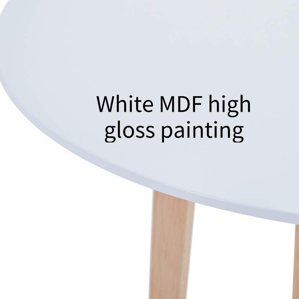 White 90cm Goldfan Modern Square Dining Table Rounded Design Kitchen Table With Solid Wood Legs For