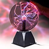 """SensoryMoon True 8"""" Plasma Ball Lamp – Large Electric Globe Static Light w Touch, Sound Sensitive Lightning, Big 8 Inch Glass Sphere and Mini Tesla Energy Coil is Best Science Toy Nightlight for Kids"""