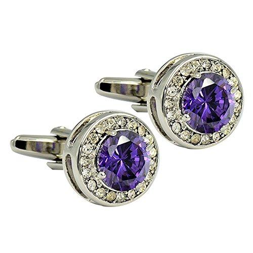 Cufflinks Crystal Round (Amytong luxury exquisite Europe diamond cut surface round purple rhinestone crystal cufflinks men & women bullet cufflinks)