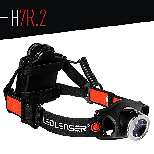 Ledlenser H7R.2 Rechargeable Headlamp, Black w Case (Icon Belt Black)