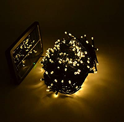 Samyo 100ft 300 LED 2 Light Modes Waterproof Solar Fairy Lights String for Outdoor Gardens Homes Christmas Lighting Party