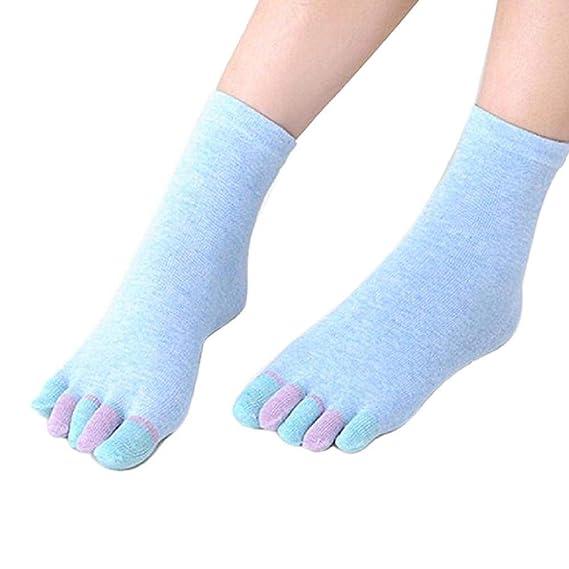VJGOAL Moda casual Algodón Respirable Yoga Gimnasio antideslizante Masaje Full Grip Toe Calcetines(Tamaño del