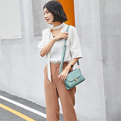 Square Bolso Hombro Retro Simple Bloqueo de Litchi sólido patrón Messenger Bag Ocio de PU Azul Color de gw41q