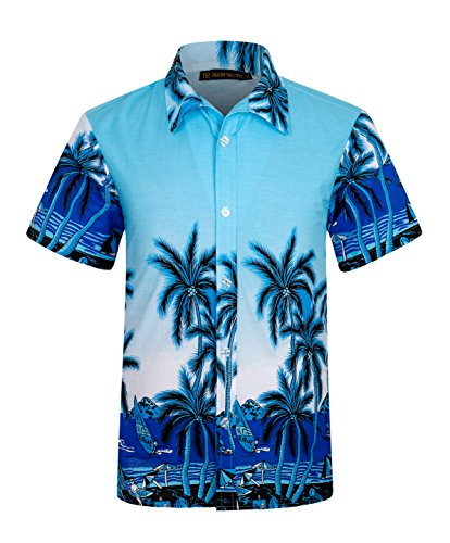 ELETOP Mens Hawaiian Shirt Short Sleeve Aloha Beach Party Shirt