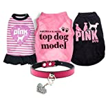 Ollypet Set of 5 Bulk Dog Clothes Dress Shirt Collar For Small Dogs Girl Accessories Puppy Cat Pink Pet Cute Summer Apparel Chihuahua Yorkie M