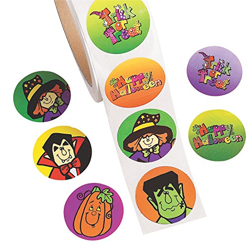 Jumbo Roll of Halloween Stickers (500 Pack) 1 1/2