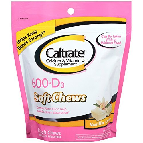 Vanilla 60 Chew - Caltrate Calcium & Vitamin D Supplement, 600+D, Soft Chews, Vanilla Creme - Buy Packs and Save (Pack of 3)
