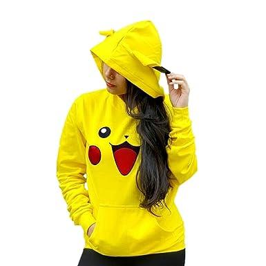 Dashing Club Women s Cute Pikachu Print Poly Cotton Hoodie(Yellow ... df9f4237f