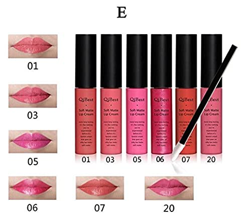 IBTS6 Colors Qibest Long-Lasting Lip Gloss Soft Matte Lip Cream With 12PCS lipbrush (E) - Lip Colour Loreal Infallible 1 Kit