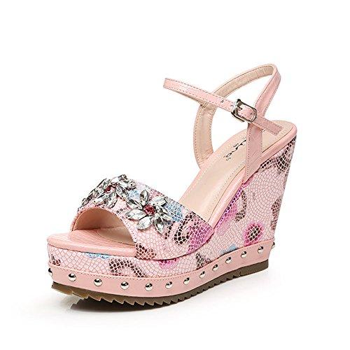 Zhirong Zomer-gradiënt-sandalen Vrouwen Waterdichte Platform Druk Rhinestone Individuele Buckle Hoge Hakken Bohemen Dikke Bodem Strand Schoenen 10.5cm (kleur: Geel, Grootte: Eu39 / Uk6 / Cn39) Pink