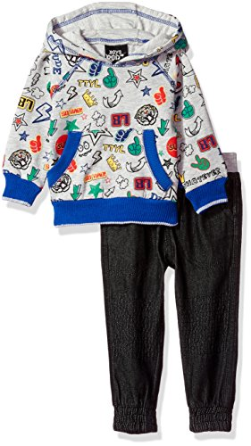 Boys Rock Baby Boys' 2pc Fashion Fleece Pullover Hoodie Set, Multi, 24M