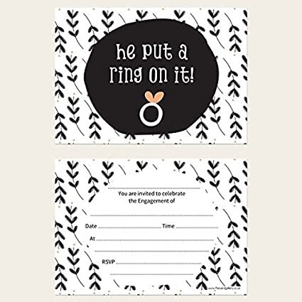 Engagement Thank You Cards He Put A Ring On It! Pack of 10